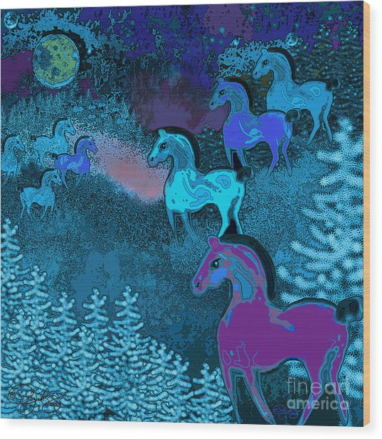 Midnight Horses Wood Print