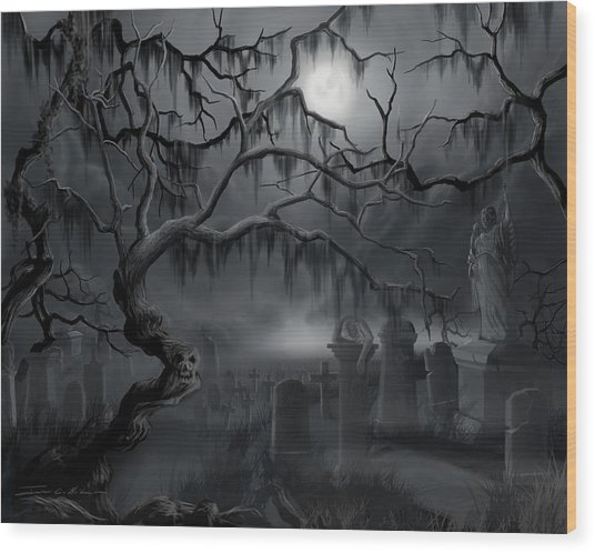 Midnight In The Graveyard  Wood Print