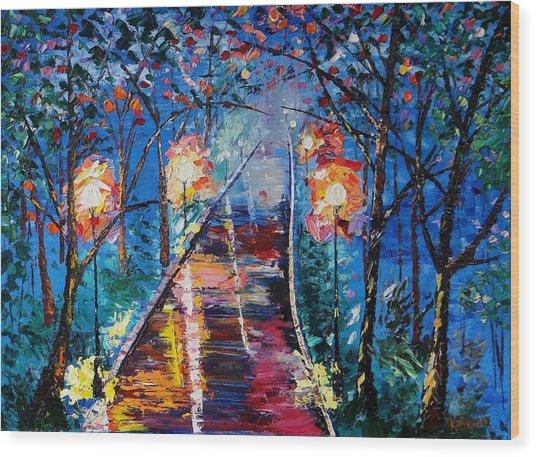 Midnight Lights Wood Print