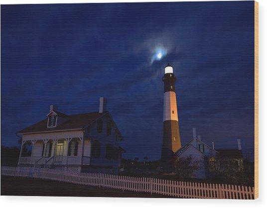 Midnight Moon Over Tybee Island Wood Print