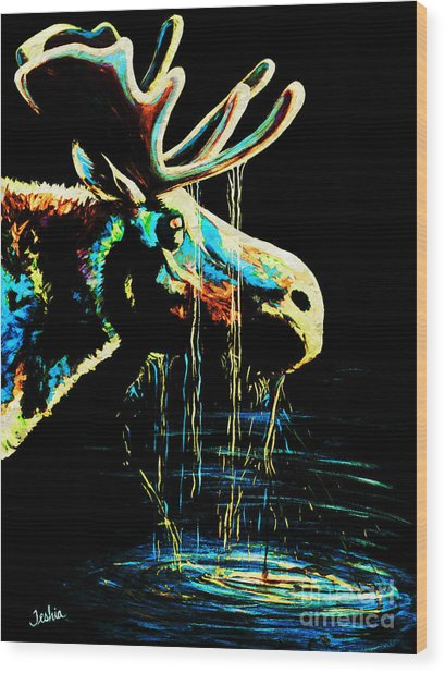 Midnight Moose Drool  Wood Print