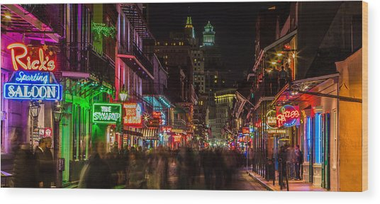 Midnight On Bourbon Street Wood Print
