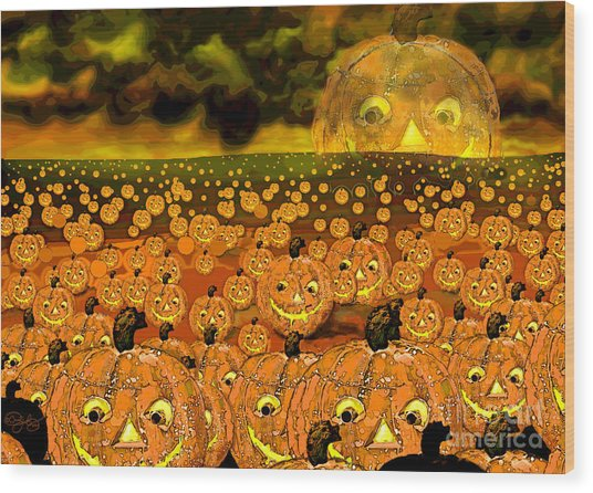 Midnight Pumpkin Patch Wood Print