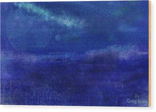 Midnight Sea Passage Wood Print by Greg Stew