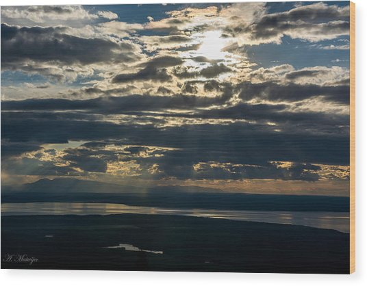 Midnight Sun Over Mount Susitna Wood Print