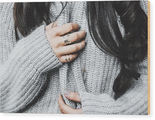 Midsection Of Woman In Warm Clothing Wood Print by Anna Kravtsova / EyeEm