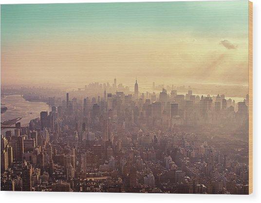 Midtown Manhattan At Dusk Wood Print