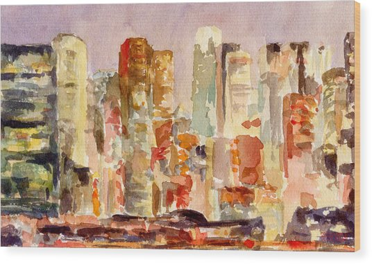 Midtown Manhattan Skyline At Dusk Watercolor Painting Of Nyc Wood Print