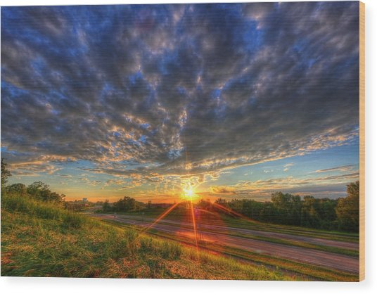 Midwest Sunset After A Storm Wood Print
