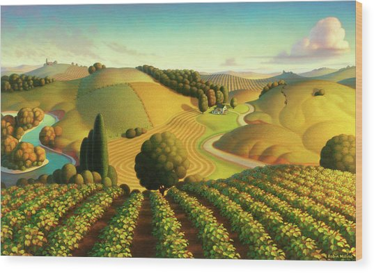 Midwest Vineyard Wood Print