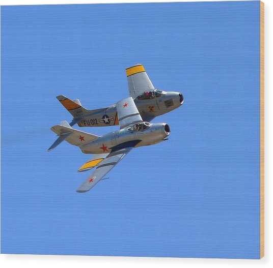 Wood Print featuring the photograph Mig 15 And F86 Sabre by Jeff Lowe