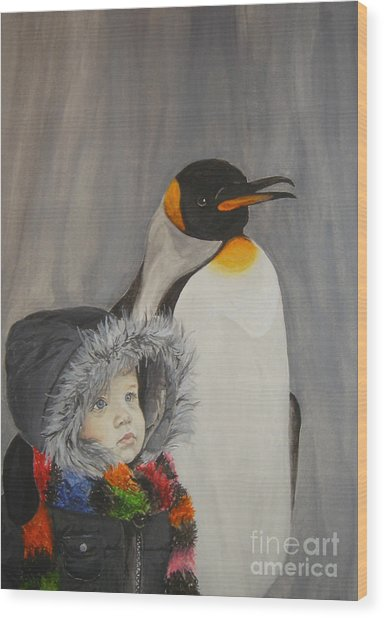 Mika And Penguin Wood Print