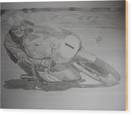 Mike Hailwood Wood Print by Jose Mendez