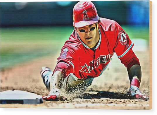Mike Trout Painting Wood Print