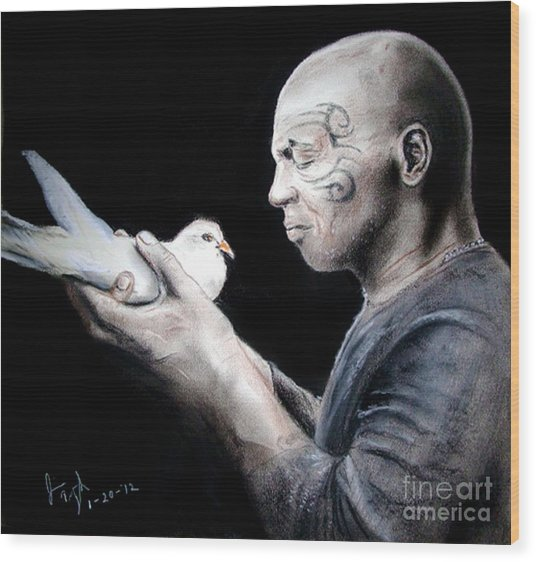 Mike Tyson And Pigeon Wood Print