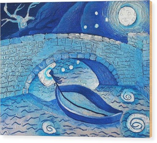 Mild Night Winds Blowing A Wish Under A Bridge Wood Print