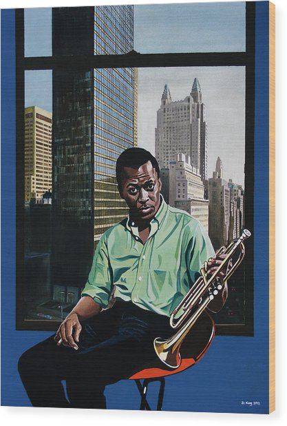 Miles High - Miles Davis Wood Print by Jo King