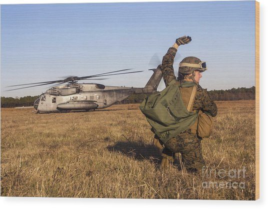 Military Policeman Signals To The Other Wood Print