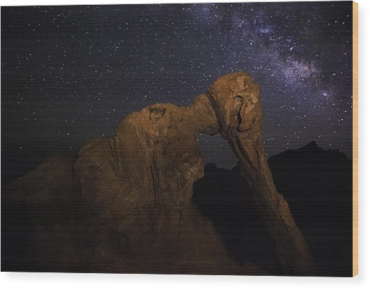Milky Way Over The Elephant 2 Wood Print