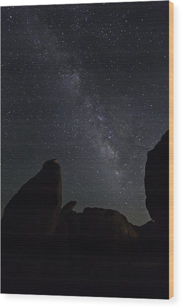 Wood Print featuring the photograph Milky Way Over The Seven Sisters by James Sage
