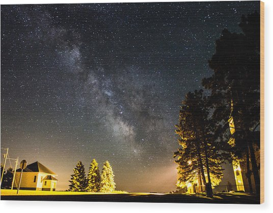 Milky Way From Oldham South Dakota Usa Wood Print