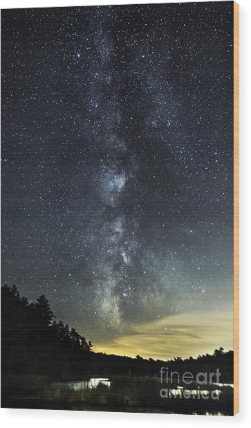 Milky Way Over Beaver Pond In Phippsburg Maine 2 Wood Print