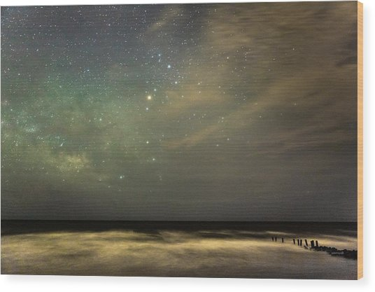 Milky Way Over Folly Beach Wood Print