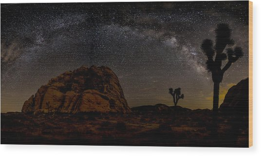 Milky Way Over Joshua Tree Wood Print by Peter Tellone