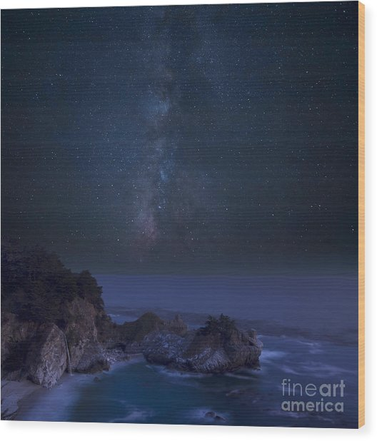 Milky Way Over Mcway Falls Wood Print