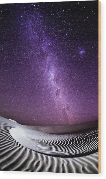 Milky Way Over Sand Dunes Wood Print by John White Photos