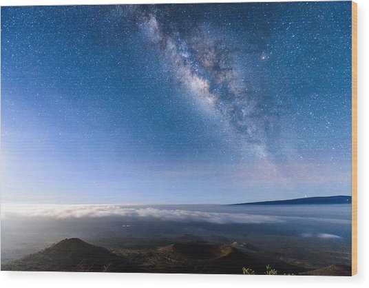 Milky Way Suspended Above Mauna Loa 2 Wood Print