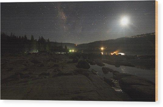 Milky-way Over Plasse's Resort - Silver Lake Wood Print