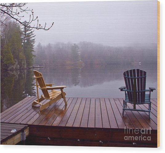 Mill Lake Mist Wood Print