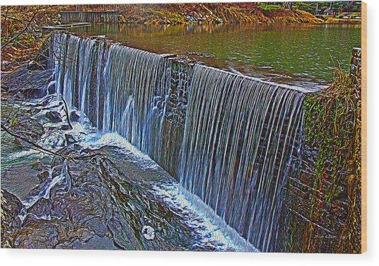 Mill Pond Spillover  Wood Print