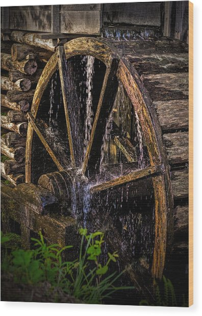 Mill Wheel Wood Print by Dave Bosse