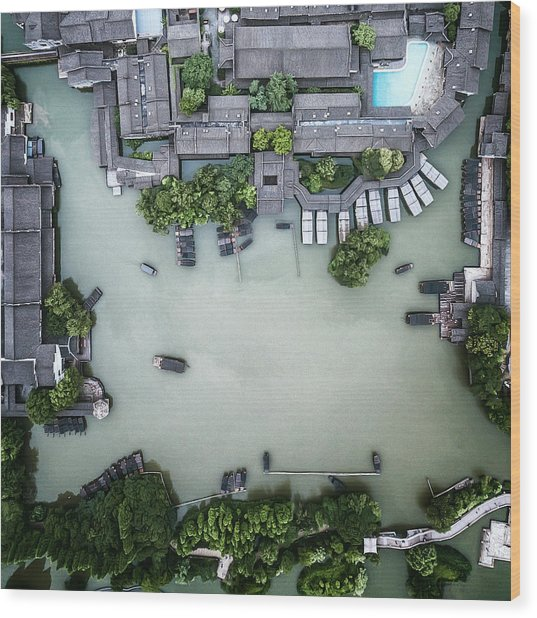 Millennium Ancient Town Wood Print by Zhou Chengzhou