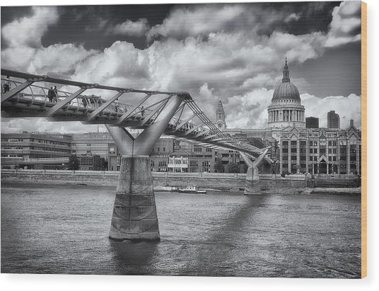 Millennium Bridge - St Pauls Cathedral Wood Print