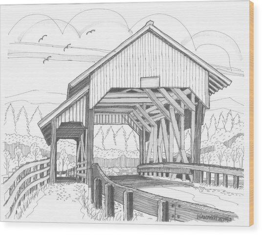 Miller's Run Covered Bridge Wood Print