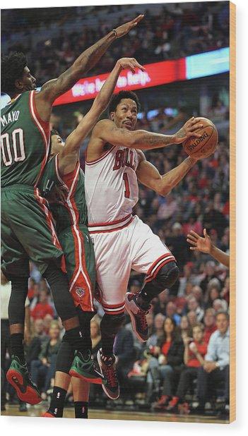Milwaukee Bucks V Chicago Bulls - Game Wood Print by Jonathan Daniel