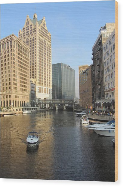 Milwaukee River Theater District 3 Wood Print