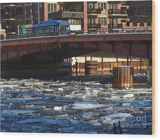 Milwaukee River - Winter 2014 Wood Print by David Blank