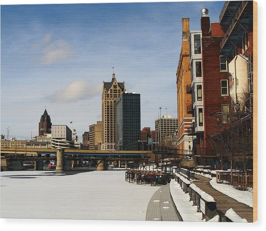 Milwaukee Riverwalk Wood Print by David Blank