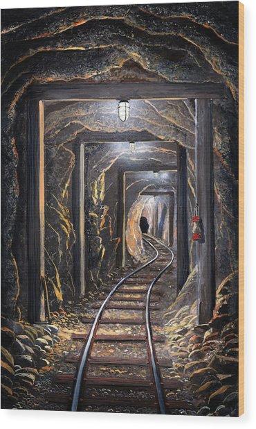Mine Shaft Mural Wood Print