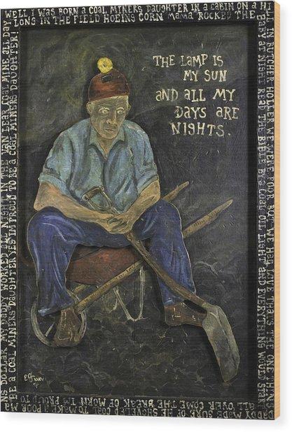 Miner - Lamp Is My Sun Wood Print