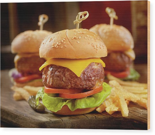 Mini Cheeseburgers With Fries Wood Print by Lauripatterson
