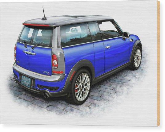 Mini Cooper Clubman Blue Wood Print by David Kyte