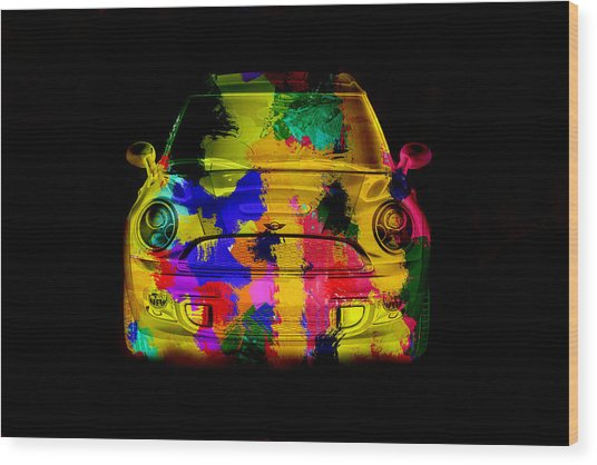 Mini Cooper Colorful Abstract On Black Wood Print