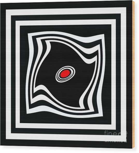 Minimalist Art Black White Red No.17 Wood Print by Drinka Mercep
