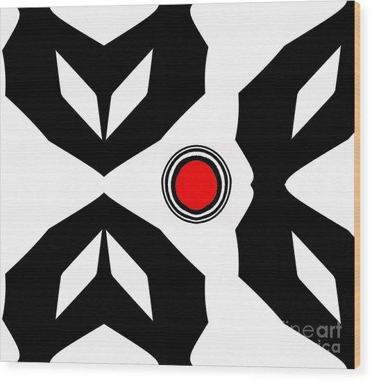Minimalism Art Black White Red No.229. Wood Print by Drinka Mercep