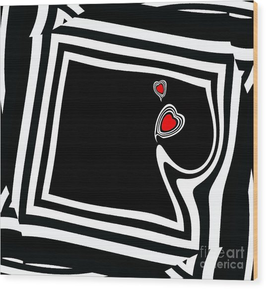 Minimalist Black White Red Art No.95. Wood Print by Drinka Mercep